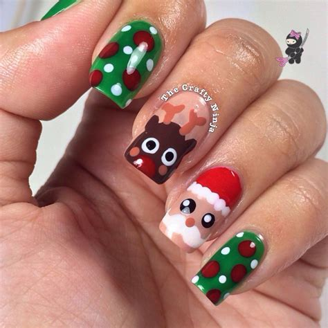 christmas pattern nails santa and rudolph reindeer nails the crafty ninja