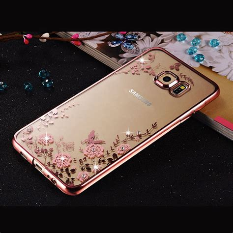 Simple Flower Swarovski For S3 S4 S5 S6 Edge Samsung Lenovo Lg for samsung galaxy j3 j5 j7 2016 s3 s4 s5 s6 s7 edge grand prime a3 a5 a7 plating cover