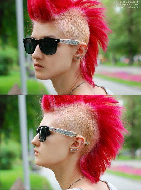 redhead women with spiked mohawk hair hair color multi colored hair blonde hair red
