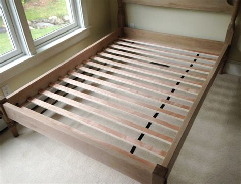 Mattress And Boxspring On Floor by Traditional Bed Frame With Pickled Wood Finish