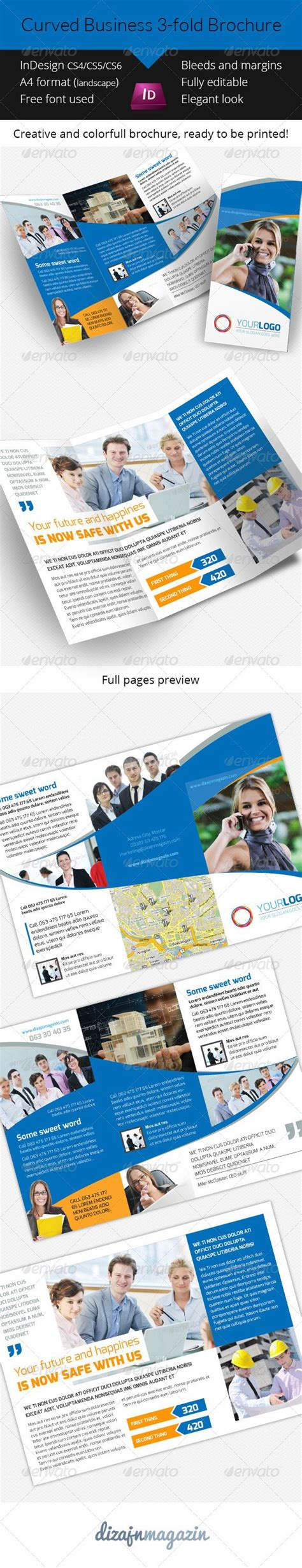 tri fold brochure template indesign cs6 curved biz 3 fold brochure indesign template