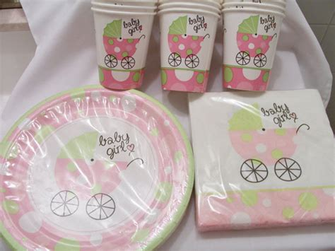 Baby Shower Decorations Pink And Green by Set Of Soft Pink And Green Baby Shower Paper Plates Cups And