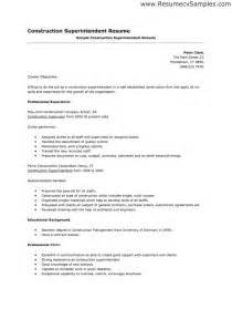 construction resume sle free construction superintendent resume sales