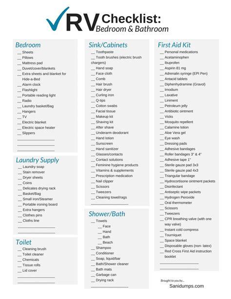 bathroom necessities checklist 25 beste idee 235 n over rv checklist op pinterest rv