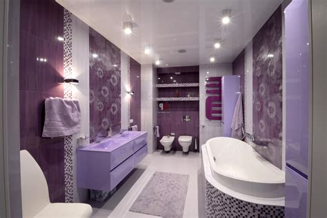 purple and white bathroom luxurious bath tub front cute washbasin near twin lighting in purple bathroom sets