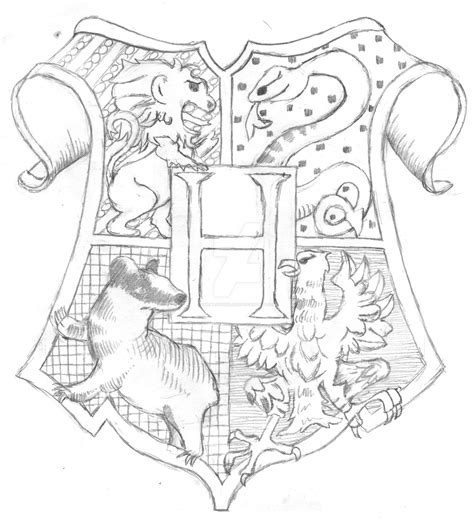 harry potter coloring pages hogwarts hogwarts crest lineart by themagicianlord on deviantart