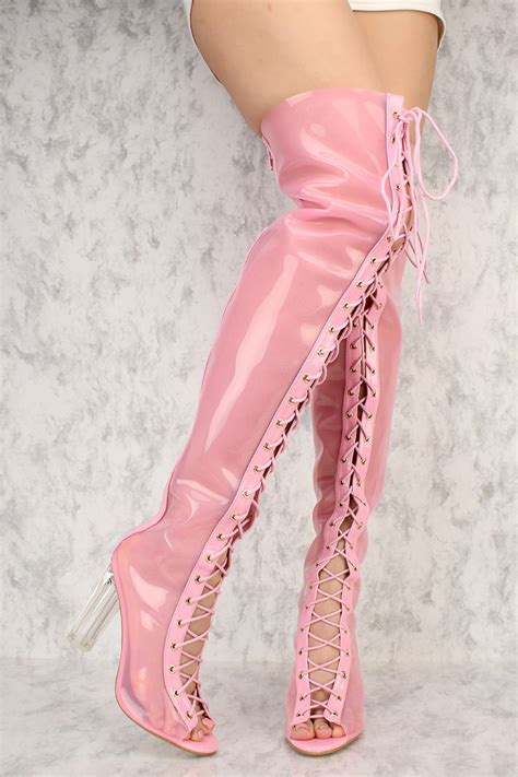 Promo Diskon Sandal Wedges Bunga Pink Wedges High Heels Flower Pink F pink front lace up toe thigh high clear chunky heel ami clubwear boots faux leather