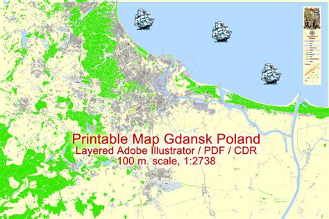 printable map of poland printable maps map gdansk poland printable editable adobe illustrator