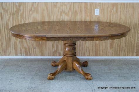 vintage oak claw foot pedestal dining table
