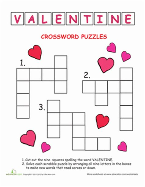 valentines day games primarygames play free kids crossword valentine s day worksheet education com
