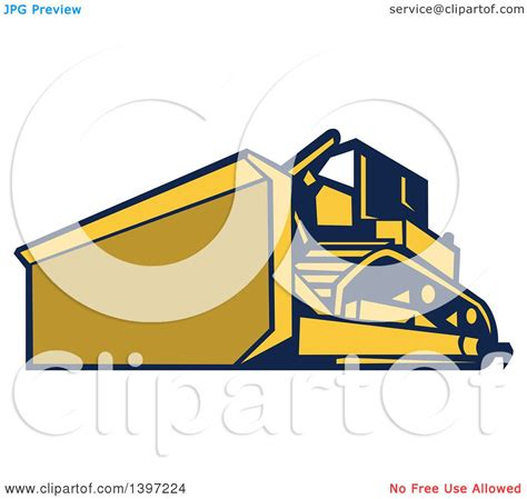 royalty free building contractor clip art vector images clipart of a retro yellow and blue bulldozer construction