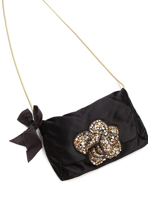 Lanvin Satin Evening Bag by Louise Lanvin Swarovski Crystals Embellished Black