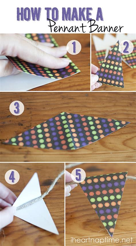 How To Make A Paper Pennant Banner - diy pumpkin canvas with buttons pennant banners