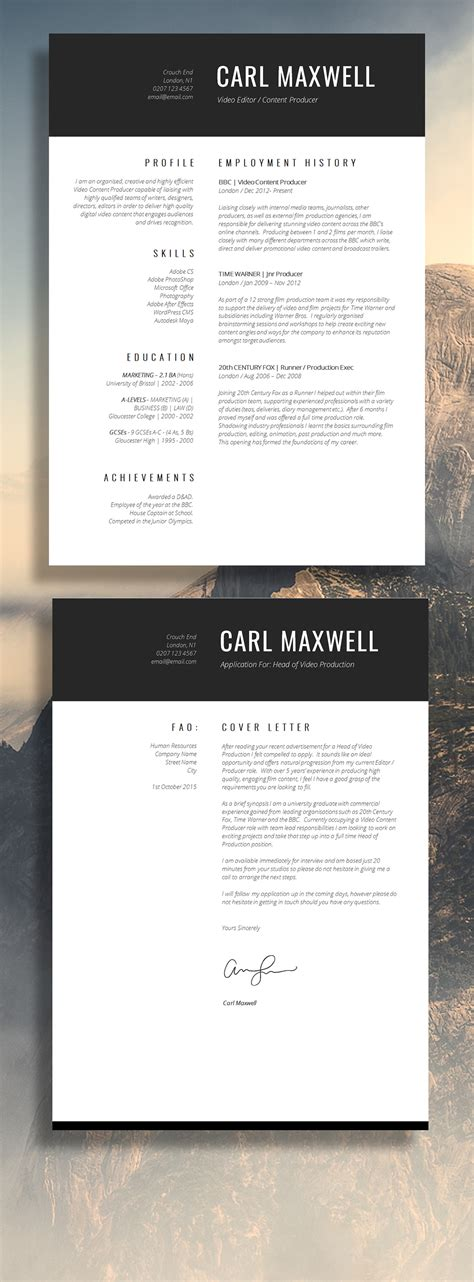 Single Page Resume Template by 12 Brilliant Cv Designs That You Ll Want To Guru