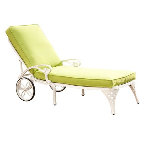 white chaise lounge home styles biscayne white patio chaise lounge with green