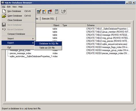 sqlite database windows xp