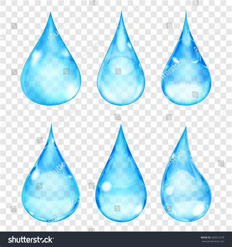 set transparent color set transparent drops light blue colors stock vector