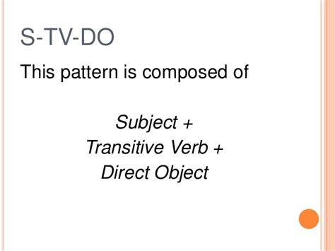 sentence pattern exles s tv do basic sentence patterns