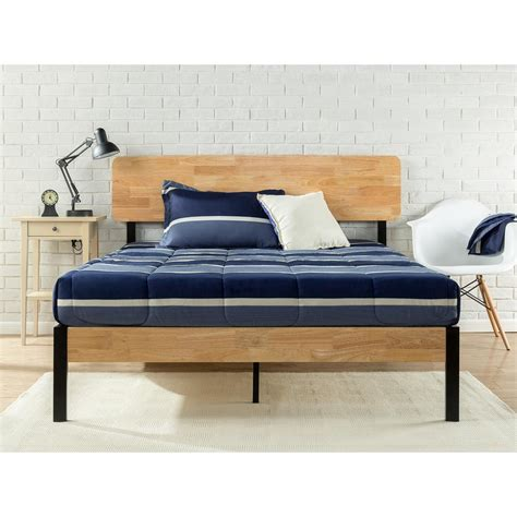 metal and wood bed zinus tuscan metal and wood black queen platform bed hd hbpbb 14q the home depot