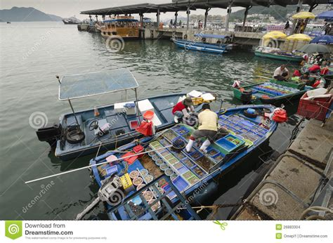 buy a boat hong kong selling fresh fish from a boat in hong kong editorial