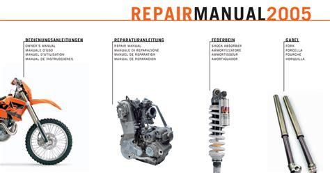 Ktm Manuals 2000 2007 Ktm 250 400 450 525 Sx Exc Service Repair Manual