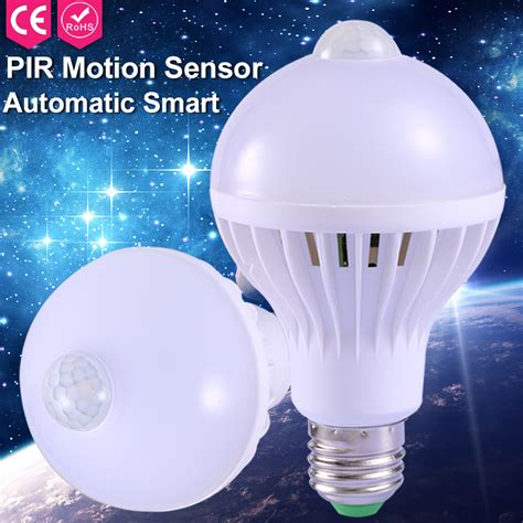 Lu Led Smart E27 9w With Pir Sensor 1pcs l with the motion sensor e27 led bulb sound light auto smart door gate stairs