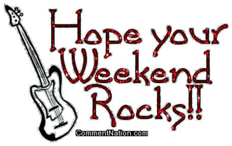 Code Rock The Weekend your weekend rocks glitter text with guitar image graphic comment meme or gif