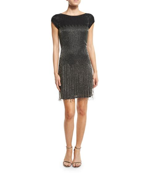 fringe beaded dress aidan mattox cap sleeve beaded fringe cocktail dress black