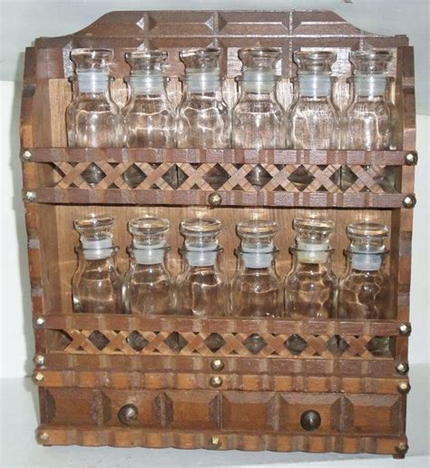 Spice Rack With Empty Bottles 1970s Wood Spice Rack With 12 Empty Un Used Bottles 2