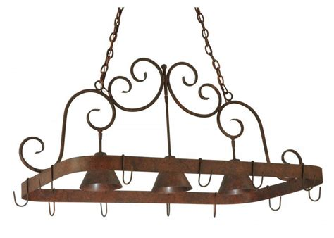 overhead hanging kitchen island rustic elana pot rack