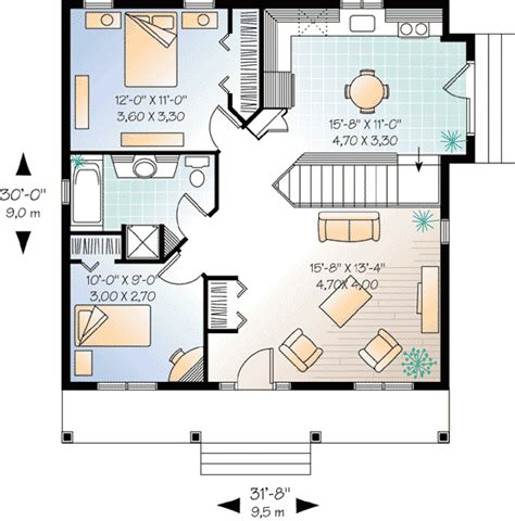 2 bedroom cottage floor plans 2 bedroom cottage house plan 21255dr architectural
