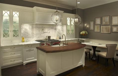 Kitchen White Cabinets Gray Walls Curved Kitchen Island Contemporary Kitchen Grothouse Lumber