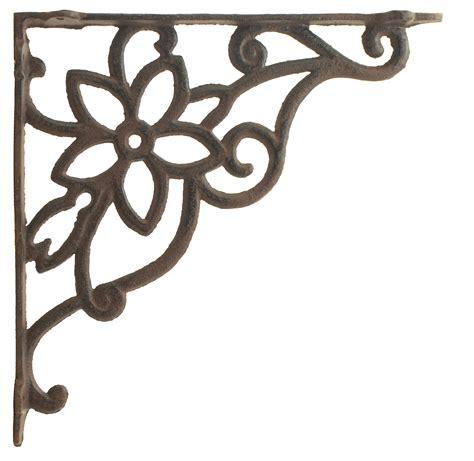 cast iron wall shelf bracket brace vine flower rust