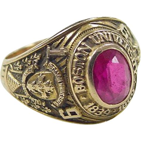 vintage 14k gold 1959 boston ruby class ring