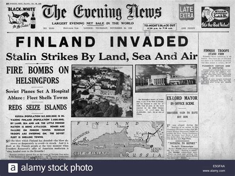 the evening news newspaper 1939 evening news front page reporting russian of stock photo royalty free
