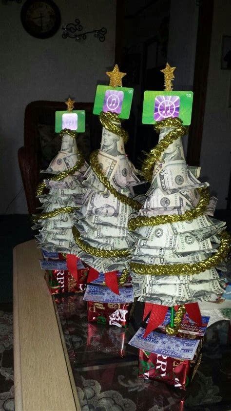 christmas trees decorated with scratch tickets money trees with lottery tickets as gifts easy to make and dyi
