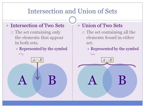 math symbols for union and intersection and and sets of numbers unions intersections and venn diagrams