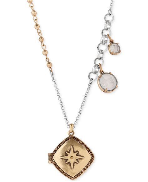 lucky brand locket necklace with charms in metallic lyst