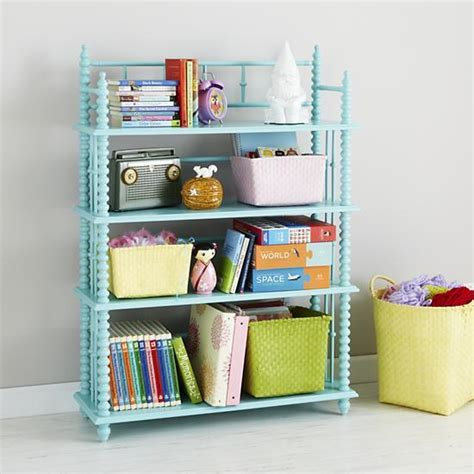 light blue spindle bookcase the land of nod