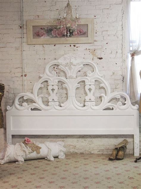 painted cottage chic shabby white romantic headboard king