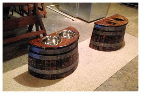 barrel planter dog feeder and two dogs on pinterest