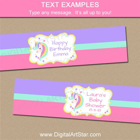 Unicorn Water Bottle Labels Printable Digital Art Star Unicorn Label Template