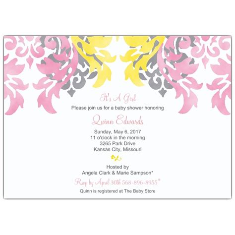 Red Baby Shower Invitations by Pink Damask Baby Shower Invitations Paperstyle