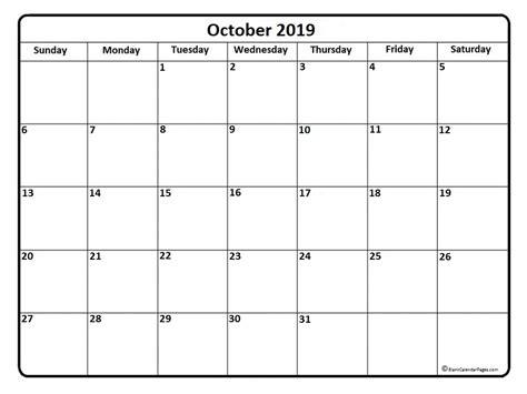 Calendar 2019 October October 2019 Calendar October 2019 Calendar Printable