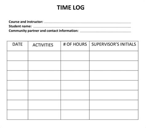 work log template work log template 5 free pdf doc