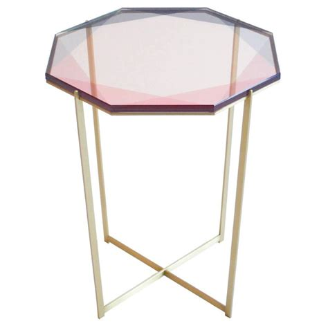 Pink Side Table Gem Side Table Pink Brass For Sale At 1stdibs