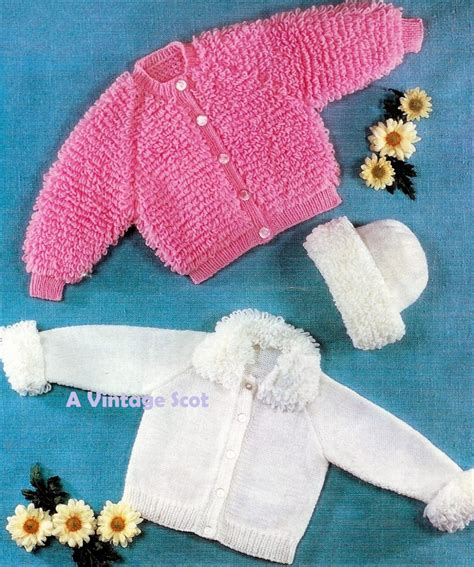 knitting patterns 8 ply wool baby loopy jackets 2 styles and hat in dk 8 ply yarn for 20