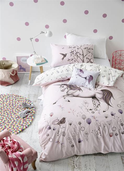 unicorn bedroom adairs kids unicorn dreaming quilt cover set kids
