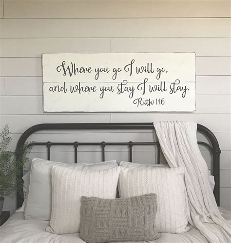bedroom wall signs bedroom wall decor where you go i will go wood signs