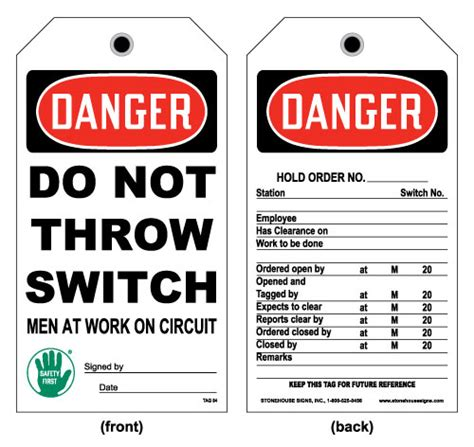 Lockout And Electrical Tag Front Danger Do Not Throw Switch Men At Work On Switch Card Lock Out Tags Template